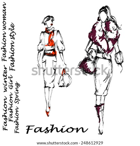 Two fashion women with bags - stock vector