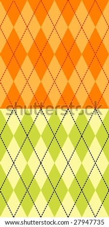 Two fashionable colored seamless argyle patterns - stock vector