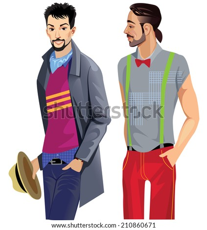 two fashionable men's coat and shirt - stock vector
