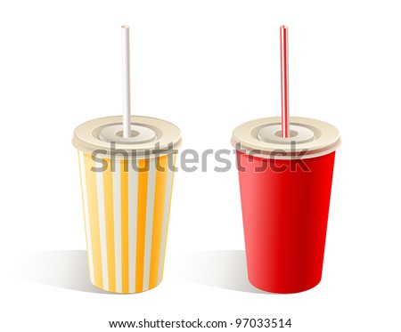 Two fast food paper cups with straws - stock vector
