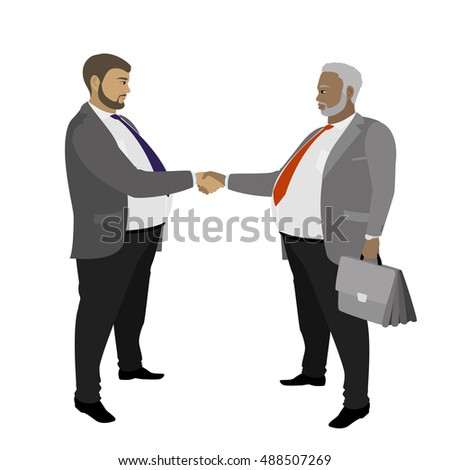 Two fat Business man shaking hands, isolated on white background ,vector illustration
