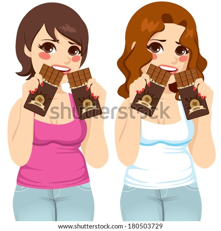 Two fat women eating two chocolate bars each like there is no tomorrow with guilt expression - stock vector