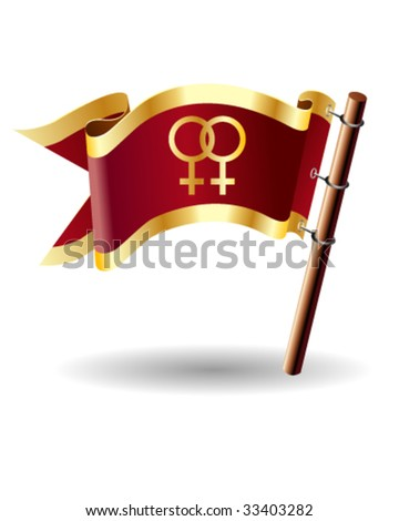 Two females icon on royal vector flag button, good for use on websites, in print, or on promotional materials - stock vector
