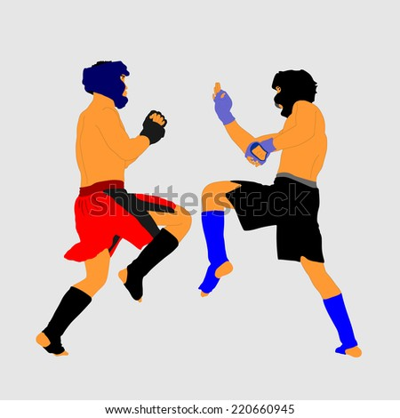 Two fighters in ring vector illustration.Fight Fighter Muay Thai Boxing Karate Taekwondo Wrestling Kick Punch Grab Throw People Icon Sign Symbol Pictogram In octagon. - stock vector