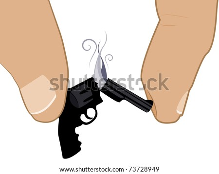 Two fingers crush a handgun until it breaks in half. - stock vector