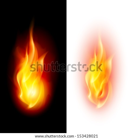 Two fire flames on contrast black and white backgrounds. - stock vector