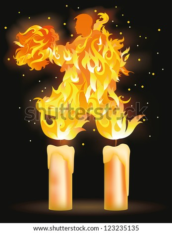 Two fire  lovers dancing, vector illustration - stock vector