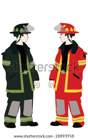 Two firemen in different colored uniforms.