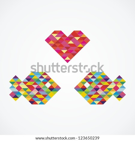 two fishes and heart consist of colorful mosaic. Vector illustration - stock vector