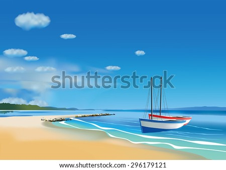 Two fishing boats on the beach.  - stock vector