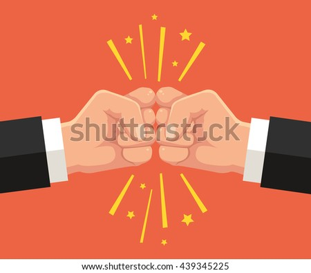 Two fists punching each other. Vector flat cartoon illustration - stock vector