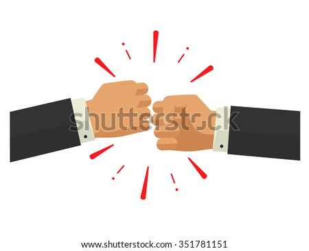 Two fists together vector illustration, two hands in air bumping together, punching label, fighting cartoon gesture,  modern design sign isolated - stock vector