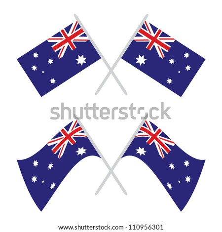 Two flag of Australia in two positions - stock vector