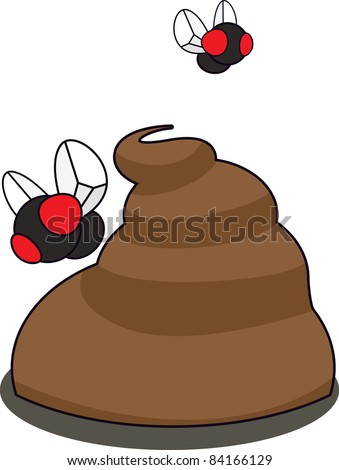 Two flies hovering over a pile of poop. Layered vector illustration. - stock vector