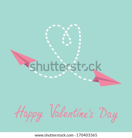 Two flying  paper planes. Heart in the sky. Happy Valentines Day card. Vector illustration. - stock vector