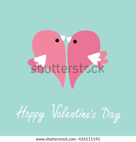 Two flying pink birds in shape of half heart. Cute cartoon character. Love card Flat design style. Happy Valentines day. Vector illustration - stock vector