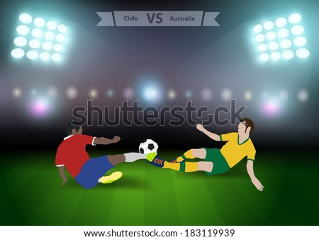Two football players in jump to strike the ball at the stadium, Soccer players chile versus australia, Brazil 2014 group B Vector illustration modern design template - stock vector