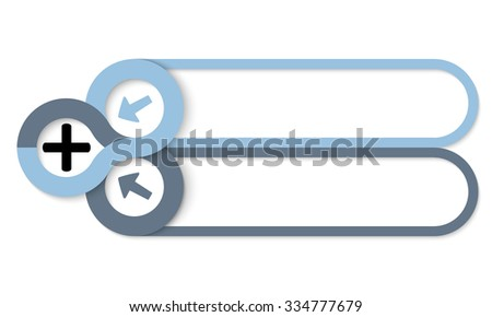 Two frames for your text and plus symbol - stock vector