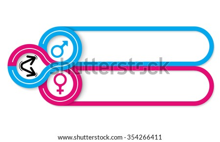 Two frames for your text and symbol of woman and man - stock vector