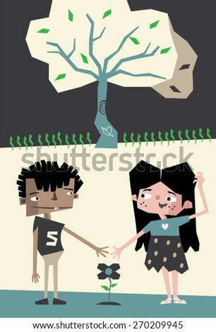 Two friends, a boy and a girl, are smiling to each other. Between them a flower grows. A tree with leaves stands behind them. - stock vector