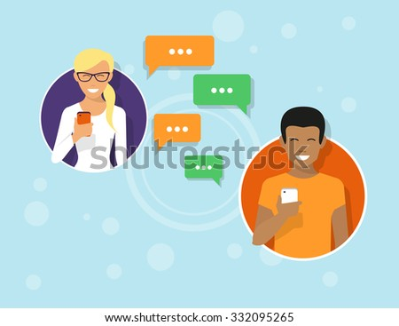Two friends in the circle icons are sending messages via messenger app. Flat illustration of people communication with sms bubbles - stock vector