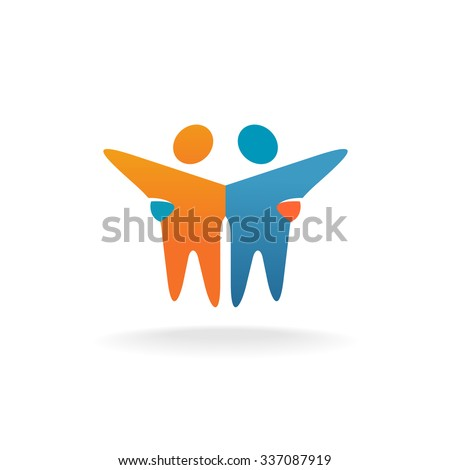 Two friends logo. People teamwork concept symbol. - stock vector