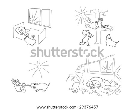 Two friends the boy and a dog have lead good day together - stock vector