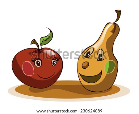 Two Fruits; Apple and Pear Stylized Cartoon with exaggerated Human features, Vector Illustration isolated on White Background. Shadows and outline available and removable on separated Layers.  - stock vector