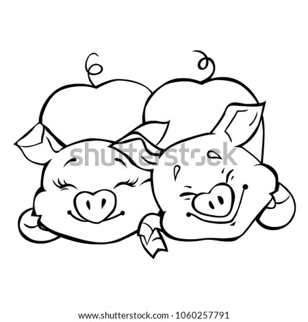 Two Funny Cartoon Pigs Symbol Chinese Stock Vector 1060257791