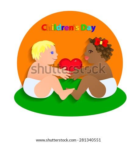 Two Funny children hold the heart. International Children's Day. Vector Illustration
