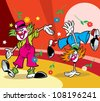 Two funny clowns performs at the circus arena.Illustration done in cartoon style, on separate layers - stock vector
