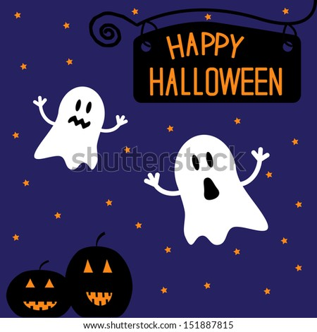 Two funny Halloween ghosts and pumpkins. Starry night. Card.  Vector illustration - stock vector