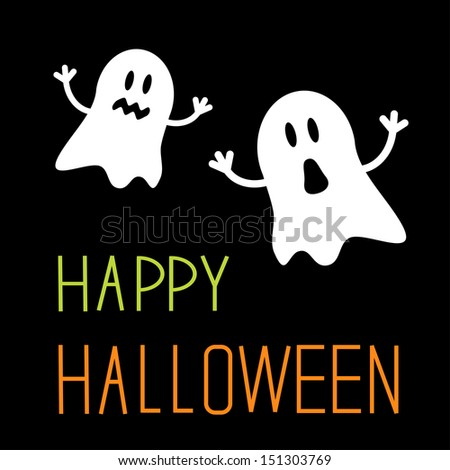 Two funny Halloween ghosts. Card. Vector illustration - stock vector