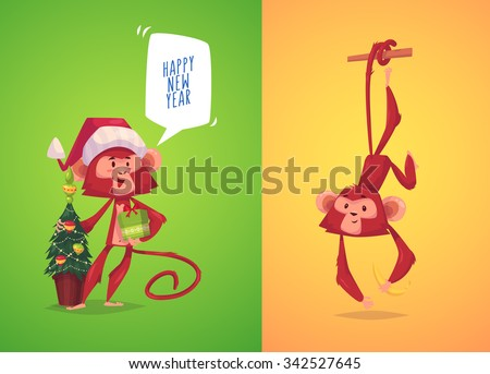 Two funny monkeys. Monkey with present in her hand and monkey hanging on a branch.  The simbol of new year.  Vector illustration. - stock vector