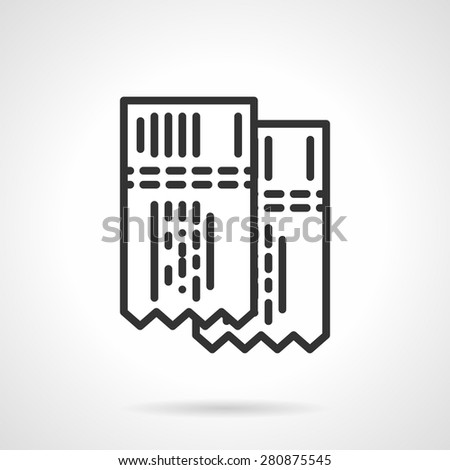 Two game tickets. Flat black line vector icon on white background. - stock vector