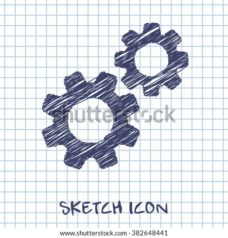 two gears vector doodle icon. Sketch illustration  - stock vector