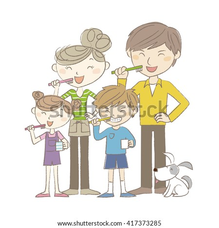 Two-genaration family standing and brushing teeth together - stock vector