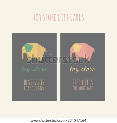 two gift cards toy store colorful stock vector royalty free