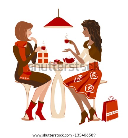 Two girls at a cafe talking and looking on each other. Christmas winter meeting. Vector - stock vector