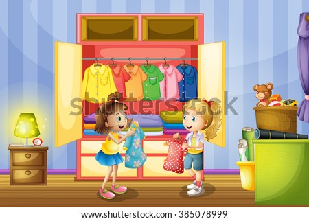 Two girls choosing clothes from closet illustration - stock vector