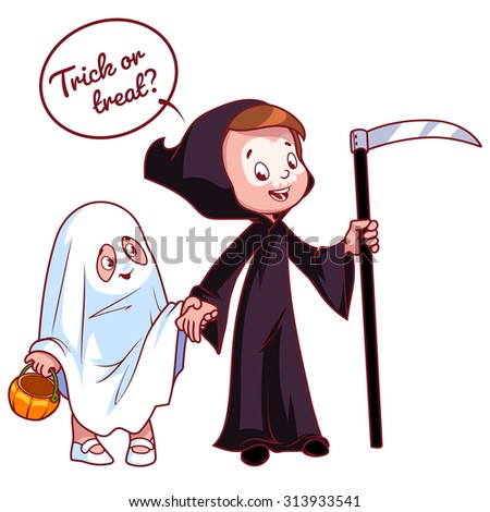 Two girls dressed for Halloween as a ghost  and death. Vector illustration on a white background. - stock vector