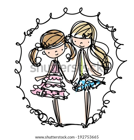 two girls fashion show cartoon look vector file set sister vector illustration - stock vector