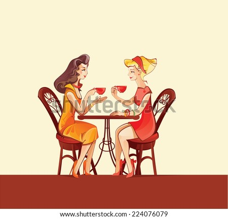 two girls in cafe vector illustrations - stock vector