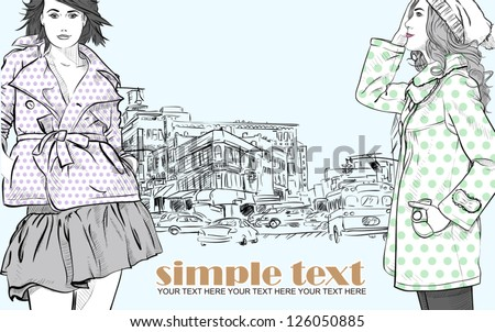 Two girls in sketch-style on a city-background. Vector illustration. - stock vector