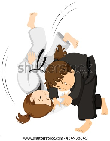 Two girls playing judo illustration - stock vector