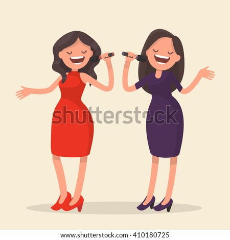 Two girls singing. Karaoke. Vector illustration - stock vector