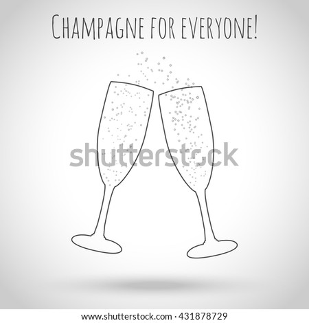 Two glasses of champagne. Concept of invitation to a party, a wedding or holiday. Vector illustration. Contours of glasses with bubbles on a light background with a shadow. - stock vector