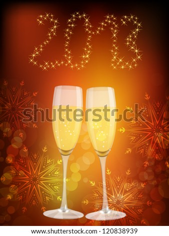 Two glasses of champagne on celebration background