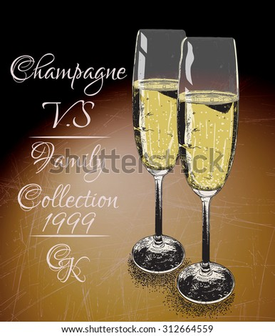 Two glasses  of  champagne on shabby background with text-family collection. Vintage style