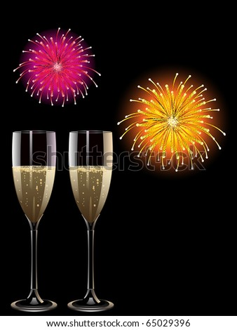 Two glasses of champagne with fireworks exploding behind them - stock vector